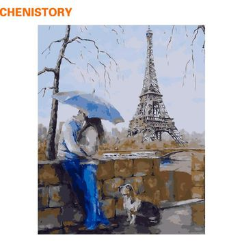 CHENISTORY Romantic Lover DIY Painting By Numbers Wall Art Modern Landscape The Eiffel Tower Oil Paint On Canvas Home Decor With