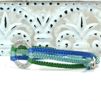 Macrame square knot bracelet with engraved washer word DISIPLINE 300