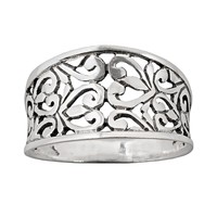 Sterling Silver Filigree Ring (Grey)