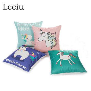 Leeiu 45x45cm Cushion Cover Pillow Case Unicorn Party Decoration For Home Birthday Baby Shower Unicorno Party Favors