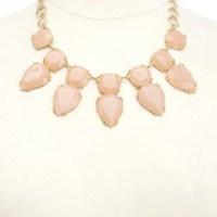 Filigree-Backed Faceted Gem Bib Necklace by Charlotte Russe - Gold