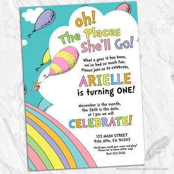Oh The Places Birthday Party Invitations