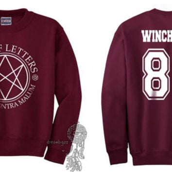 Winchester 83 Sam Winchester Men Of Letters Stamus Contra Malum Supernatural printed on Maroon Crewneck Sweatshirt