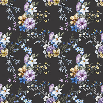 Victorian Flora in Blue Removable Wallpaper