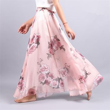 2017 Summer Chiffon Skirt Vintage Bohemia Chiffon Floral Printed Women Boho Floor-Length Long Maxi Beach Party Loose Flare Skirt