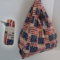 Foldable Lunch Bag - U.S. Flag Print (Beige) w/ Gold Stars - Small Grocery Bag w/ Hook & Strap, reusable shopping bag, reusable grocery bag
