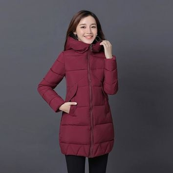 2017 New Fashion Women Winter Coat Jacket Warm Woman Parkas Female Overcoat High Quality Quilting Cotton Coat  Slim Parka