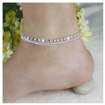 Women's line Bohemian Womens 4 Layers Crystal Beads Sandal Anklet Ankle Chain Foot Jewelry = 1928556612