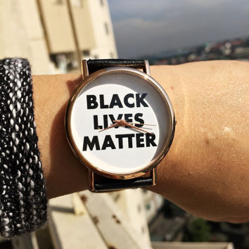 Black Lives Matter Watch, Mens Watch, Women Watches, Leather Watch, Personalized Watch, Statement, Custom Made Watch,Jewelry Accessories