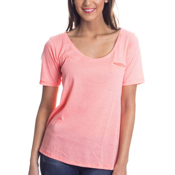 Stripe A Pose T Shirt - Coral