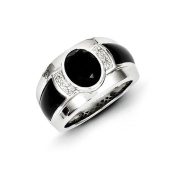 Diamond & Oval Black Onyx 13mm Tapered Ring in Sterling Silver
