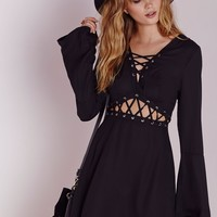 LACE UP CUT OUT SKATER DRESS BLACK