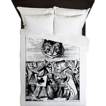 Vintage Cat Alice in Wonderland Queen Duvet