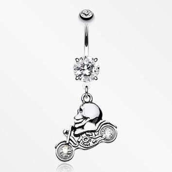 Ride or Die Skull Sparkle Bike Belly Button Ring