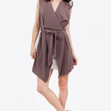 Sleeveless trench vest or short dress