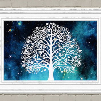 Tree Art - Tree Papercut - Winter Tree - Bird Wall Art