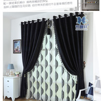 Thick black and white chenille curtains upscale modern bedroom, living room curtain fabric