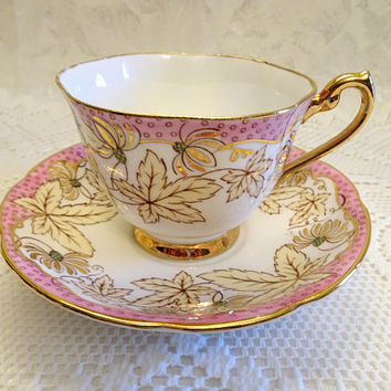 Royal Standard Pink and White English Bone China Teacup & Saucer with Cream and Gold Leaves