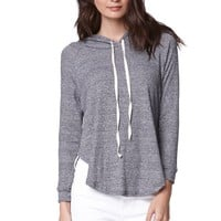 LA Hearts Ribbed Hooded Pullover Top - Womens Tee