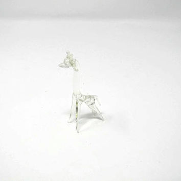Vintage Art Glass Giraffe Figurine - Hand Blown Glass Giraffe - Art Glass Giraffe Figurine - Animal Sculpture Miniature Dollhouse
