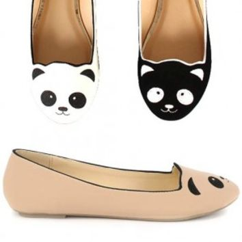 Bamboo Lula-80 Black, Nude, White Panda Face Slip-on Flat | Shoetopia.com