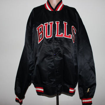 Rare Vintage Chicago Bulls Satin STARTER Jacket Gold Edition XXL
