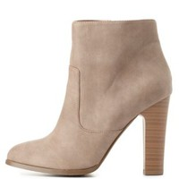 Chunky Heel Ankle Booties by Charlotte Russe - Taupe