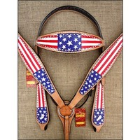 HILASON WESTERN LEATHER HORSE BRIDLE HEADSTALL BREAST COLLAR HAND PAINT US FLAG - HEADSTALL BREASTCOLLAR SET - HORSE TACK - SADDLES & TACK
