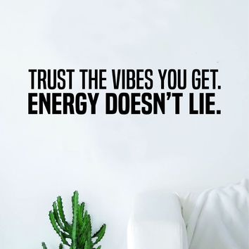 Energy Doesn't Lie Quote Wall Decal Sticker Bedroom Home Room Art Vinyl Inspirational Motivational Teen Happy Good Vibes