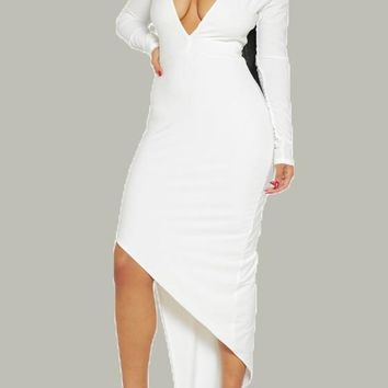 White Irregular Plunging Neckline Long Sleeve High-low Midi Dress