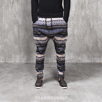 Nordic Patterned Cozy Knited Cotton Fleece Jersey Pants