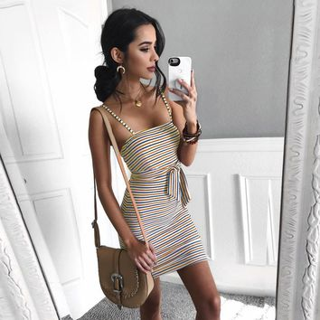2018 New Summer Dresses Women's Stripe Sleeveless Maxi Evening Party Mini Dress Casual Cute Sheath Belt Sexy dresses female