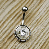 9mm Nickel Bullet Belly Button Ring