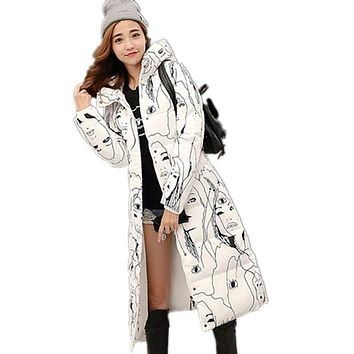 2017 New Large Size Coat Women Cotton Long Section Korean Winter Coat Thicker Slim Down Padded Jacket Warm Cute