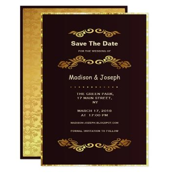 Luxury Golden SaveThe Date Wedding Invitation Card
