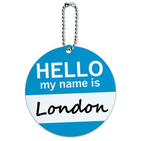 London Hello My Name Is Round ID Card Luggage Tag