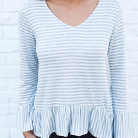 Grey Striped Bow Back Top