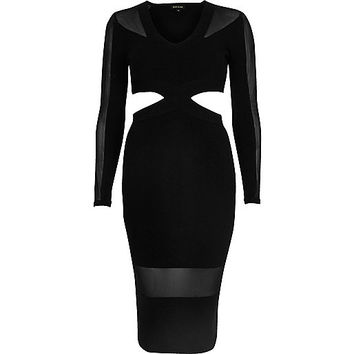 Black mesh panel cut-out bodycon dress