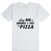 Say Yes to Pizza (V-Neck)-Unisex White T-Shirt