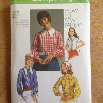 Vintage 1970s Women's Sewing Pattern Simplicity 9177, Size 12 // Vintage 1970s Blouse