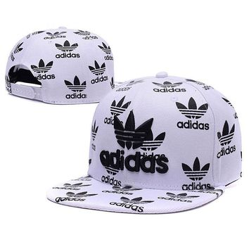 Embroidered Adidas Snapback Adjustable Flat Cap White Black: One Size Fits Most