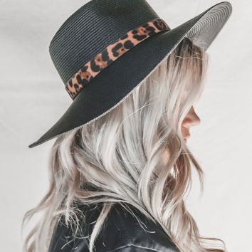 Your Time Black & Leopard Straw Hat