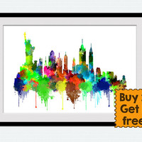 New York skyline, watercolor cityscape New York print, colorful skyline poster gift, office decoration, home decor, wall hanging art, W119