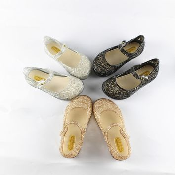 New Summer Mini Girls Jelly Shoes Bling Bling Glitter Ballet Flats Girls Flip-Flops Soft Shoes Children Beach Slippers