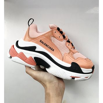 Balenciaga Triple S Low Top Sneaker Women Men Classic Shoes Orange white black line