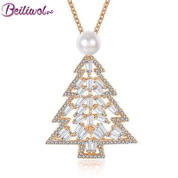 Beiliwol Trendy Necklaces & Pendants Women Rose Gold Color Pearl Jewelry Plant AAA Zircon Crystal Christmas Tree Gift for Lady