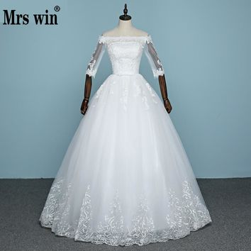 2017 New Arrival Autunm Engerla Half Sleeve Wedding Dress Organza And Tulle Boat Neck Lace Up Bride Gown Princess Embroidery