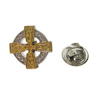 Gold and Silver Toned Celtic Cross Lapel Pin