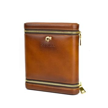 COHIBA Good Quality Portable Cigar Humidor Case Leather and Wood Brown Humidor can Hold 6 Cigars Cigar Case Box