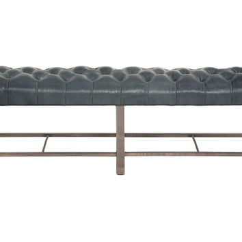 """Anna 73"""" Tufted Leather Bench, Charcoal, Entryway Bench, Bedroom Bench"""